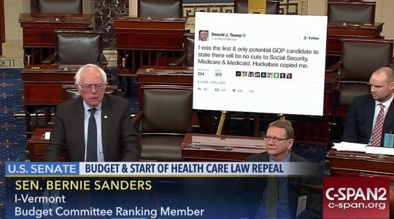 Bernie Sanders displays giant Trump tweet on Senate floor